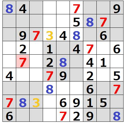 ナンプレで初期配置が多い数字から潰す2